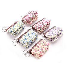 Women Pastoral Floral Canvas Card Coin Key Bag Wallet Purse Pouch Makeup LC