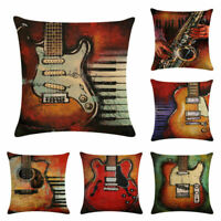 Vintage Guitar Throw Pillow Case Linen Chair Waist and Seat Square Cushion Cover