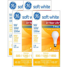NEW Lot of 4 GE Soft White Light Bulbs 3-Way 50/100/150 Watt (Pack of 4)