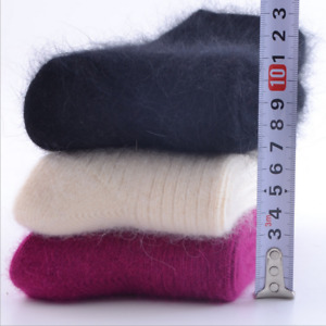 3 Pack Women 100% Pure Wool Cashmere Socks Thermal Thicken Casual Solid Hi-Q AAA