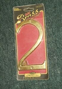"Solid Brass Vintage House Number 6"" Inch Tall 1983 # 2 Ives artisan collection"