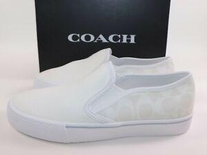 NIB $128 COACH Size 8.5 Men's Chalk White SIG C CITYSOLE Skate Canvas Sneaker