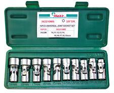 """Gelenkeinsätze 3/8"""" 10-19mm 12-kant 10-teilig Gelenk Nüsse Steckeinsätze Gelenk"""