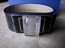 $180 Swarovski Remix Jet Black Leather & Crystal Bracelet #1128125 NIB