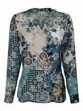 Alba Moda Bluse in blau-rose/gemustert, Gr. 36