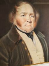 Antique Georgian Gentleman pastel portrait painting Regency era man 1800s 19th c
