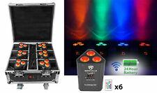 Rockville ROCKWEDGE PACKAGE BLACK (6) Battery Wireless Par Lights+Charging Case