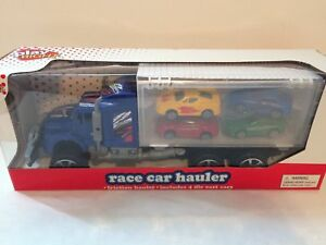 Play Right Semi Race Car Friction Hauler Includes 4 Die Cast Cars