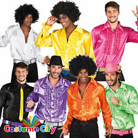 Adult Mens Disco Fever Frilly Ruffle Shirt 1970s 70s Fancy Dress Costume