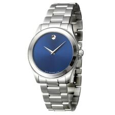 Movado 0606116 New Junior Sport Stainless Steel Blue Dial Quartz Men's Watch!