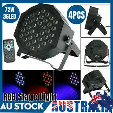 4pcs 72w RGBW Sound Active 36 LED Par Stage Strobe Light Dmx-512 Party DJ