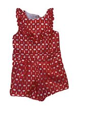 janie and jack Red Eyelet Romper Size 4 2019 Summer
