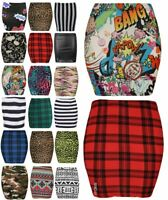 NEW WOMENS LADIES PRINT STRETCH BODYCON TARTAN SHORT MINI PENCIL SKIRTS UK 8-20