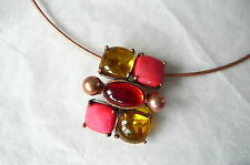 VIRGIN VIE NECKLACE - JEWEL PARFAIT WITH GORGEOUS RED & YELLOW STONES - NEW