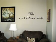 When words fail music speaks Vinyl Wall Decal Stickers Decor Letters  Quote Art