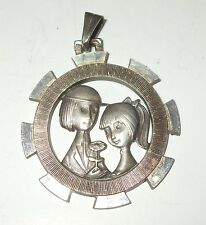 Vintage French Sterling Silver Sweetheart 925 Medal Pendant Les Amoureux Lovers