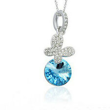18K WHITE GOLD PLATED GENUINE CZ/AUSTRIAN CRYSTAL TURQUOISE BUTTERFLY NECKLACE