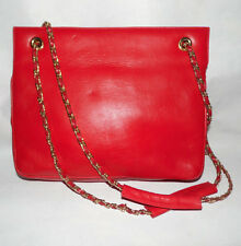 HENRI BENDEL Vintage Red Leather Shoulder Bag w Gold Adjustable Dual Chain Strap