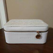 Pandora white floral faux leather zip travel case box bracelet/charm/jewelry