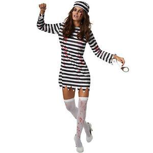 Kostüm Damen Zombie Sträfling Häftling Gefangene Fasnacht Karneval Halloween