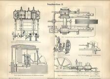 Stampa antica MOTORI MACCHINARI A VAPORE Tav. 2 meccanica 1890 Old antique print