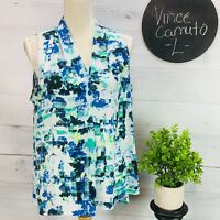 Vince Camuto Womens Blouse Pleated Front Blue Green Watercolor Sleeveless Size L