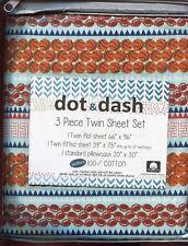 DOT & DASH SPORT STRIPE TWIN SHEET SET  FOOTBALL BASEBALL & MORE * 100% COTTON