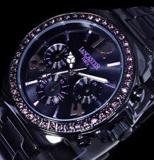Lancaster Italy Damen Armband Uhr Schwarz Lila Chronograph Swarovski Edelstahl
