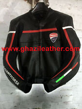 DUCATI MEN MOTORBIKE LEATHER RACING JACKET BLACK & RED SIZES XS,S,M,L,XL,2XL,3XL