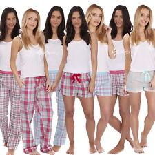 Ladies Woven Check Lounge Pants / Shorts Sizes 8-22 Pyjamas Bottoms Jacquard PJs