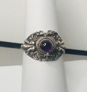 Estate Vintage Sterling Silver 925 Amethyst Poison  Ring Size 7 3.57g