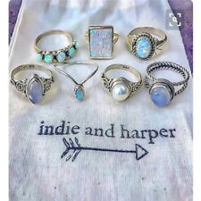 8X Vintage Retro Turquoise Ring Boho Hippie Silver Ring Gothic Rings Set Tribal