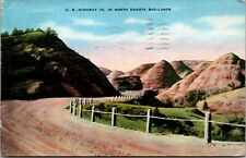 Vtg 1930's US Highway 10 in Badlands of North Dakota ND Postcard