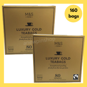 M&S Tea Bags Gold Luxury Medium Strength No 2 160 Bags 2x Boxes Marks & Spencer