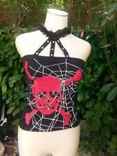 top skull araignée dentelle chaine dos resille  etat neuf! badbillys