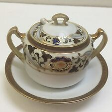 VINTAGE NORITAKE M HAND PAINTED CHINA MUSTARD JAR POT W/ LID & SPOON GOLD ACCENT