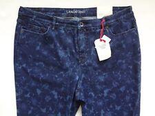 Lands End Floral Jeans Women's $69 Blue Slim Mid Rise Jeans Size 18