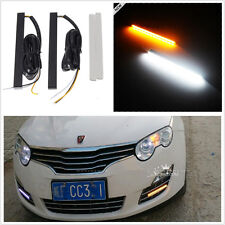 2 x Universal Waterproof Ultra Slim Switchback Amber/White Daytime Running Light