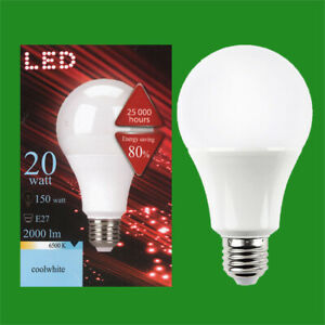 2x 20W (=150W) A80 GLS ES E27 6500K Daylight White LED Light Bulbs Lamp 2000lm