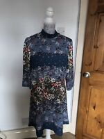 M&S Collection Blue&Brown High Neck Floral Print Dress Summer Boho UK Size 12R