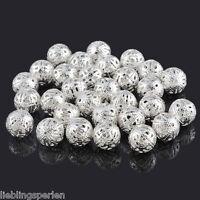 50 Versilbert Filigran Ball Perlen Beads 12mm