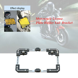 Motorcycle Adjustable Telescopic License Plate Frame Mount Holder Tail Bracket