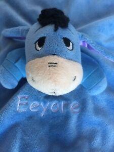 Disney EEYORE Blue Purple Security Blanket Lovey Rattle Winnie the Pooh Baby