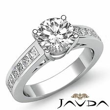 2ct Round Channel Set Diamond Engagement Unique Ring GIA F VS2 14k White Gold