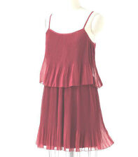 New~NWT~LAUREN CONRAD Accordian Pleated Tiered Chiffon Dress~Earth Red~Size M