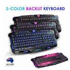 3 Color Keyboard Led Backlight Wired USB Illuminated Cool Ergonomic PC Gaming AU