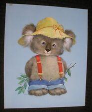 "CUTE PAINTED Koala in Suspenders 11x13.5"" Greeting Card Art #B4075 w/ Color Sep"