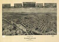 A4 Ristampa Di Americana Città Paesi Stati Mappa Garfield Nuovo Jersey