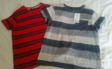 2 T-SHIRTS AGE 8-9 YEARS,1 RED AND NAVY STRIPE.1 GREY STRIPED. BRAND NEW