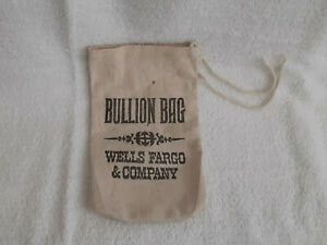 "WELLS FARGO & Company BANK CANVAS MONEY BAG  Billion 9"" X 6"" Tie String Mini"